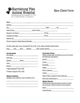 Printable Forms: Harrisburg Pike Animal Hospital, Lancaster, PA